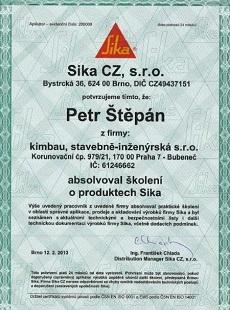 Certifikát Sika
