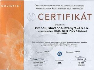 >Certifikát Soliditet / Bisnode