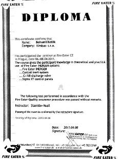 Certifikát Fire Eater