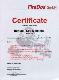 Certifikát FireDos