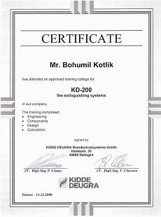Certifikát Kidde Deugra KD-200