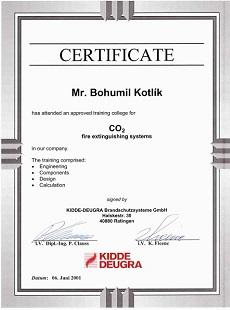 Certifikát Kidde Deugra CO2
